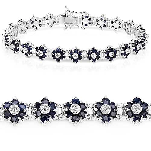 Bracelets-6.31 Carat Genuine Blue Sapphire and White Diamond .925 Sterling Silver Bracelet