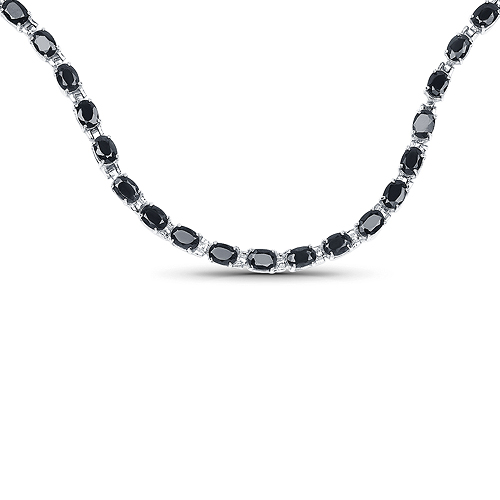 Sapphire-30.10 Carat Genuine Black Sapphire .925 Sterling Silver Necklace