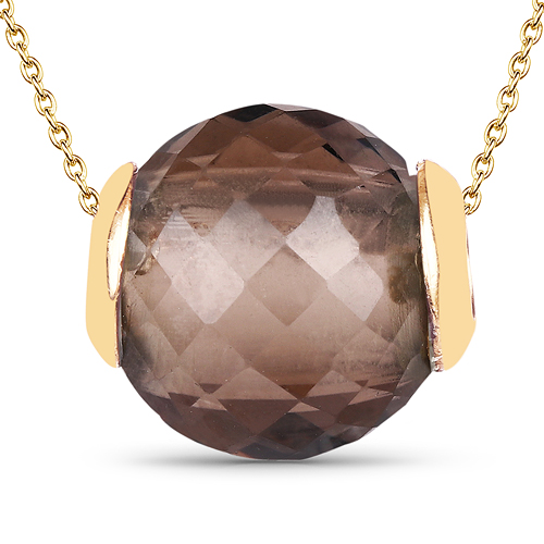 Pendants-14K Yellow Gold Plated 13.01 Carat Genuine Smoky Quartz .925 Sterling Silver Pendant