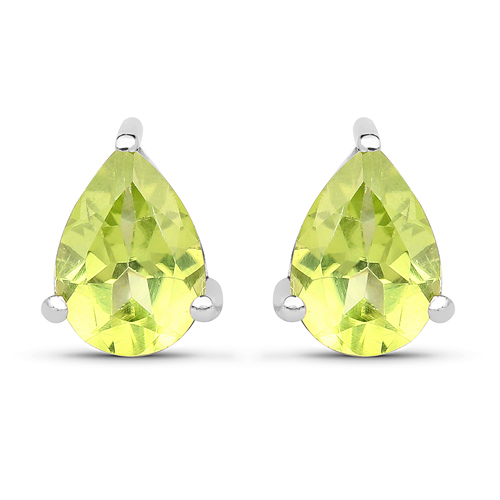 Peridot-1.33 Carat Genuine Peridot .925 Sterling Silver Earrings