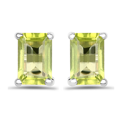 1.10 Carat Genuine Peridot .925 Sterling Silver Earrings