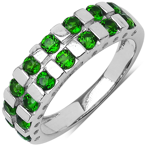Rings-1.26 Carat Genuine Chrome Diopside .925 Sterling Silver Ring
