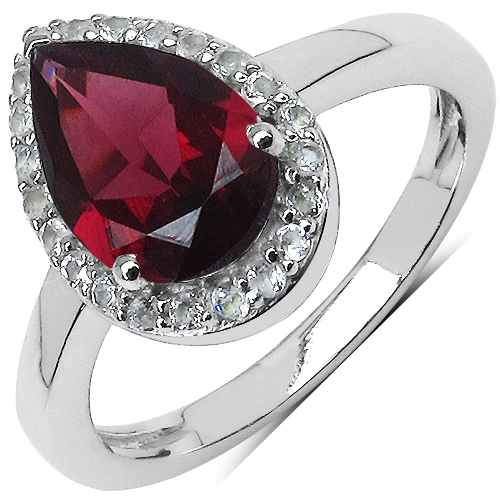 2.24 Carat Genuine Rhodolite & White Topaz .925 Sterling Silver Ring