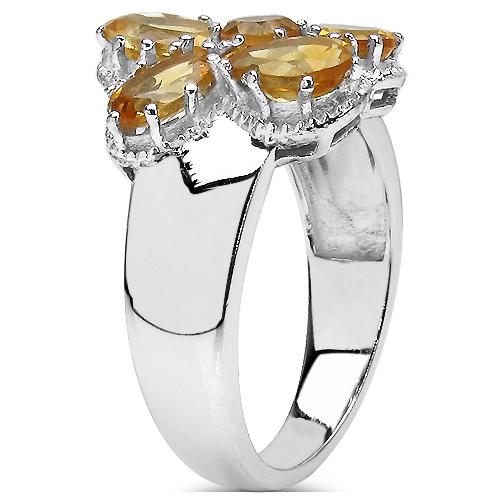 2.65 Carat Genuine Citrine .925 Sterling Silver Cluster Ring
