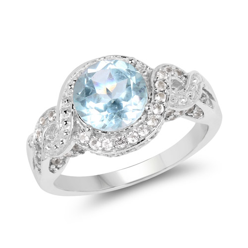 Rings-3.26 Carat Genuine Blue Topaz and White Topaz .925 Sterling Silver Ring