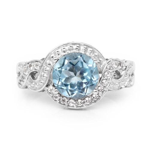 3.26 Carat Genuine Blue Topaz and White Topaz .925 Sterling Silver Ring