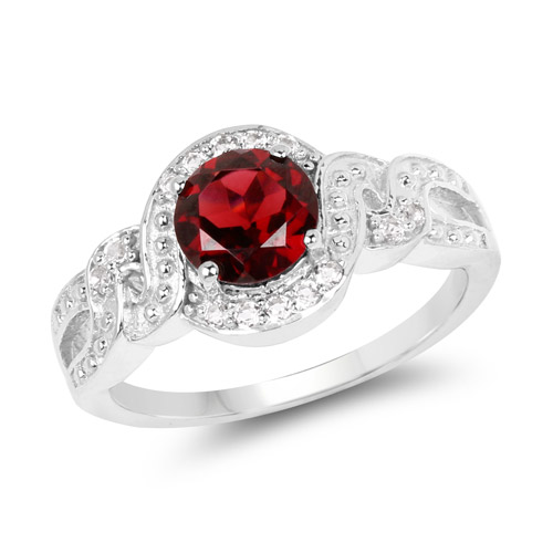 Garnet-3.75 Carat Genuine Garnet and White Topaz .925 Sterling Silver Ring
