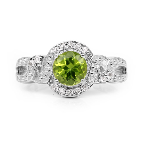 2.55 Carat Genuine Peridot and White Topaz .925 Sterling Silver Ring