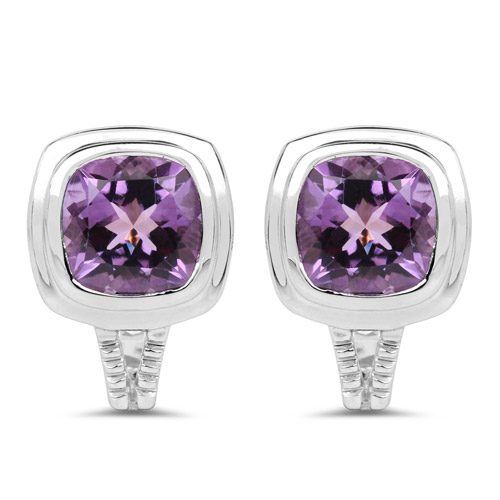 Amethyst-7.10 Carat Genuine Amethyst .925 Sterling Silver Earrings