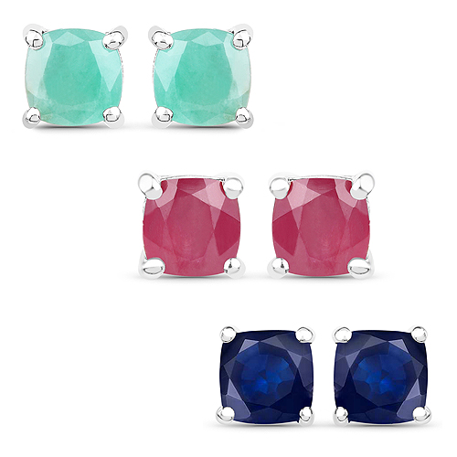 Emerald-3.60 Carat Emerald, Glass Filled Ruby and Glass Filled Sapphire .925 Sterling Silver Earrings