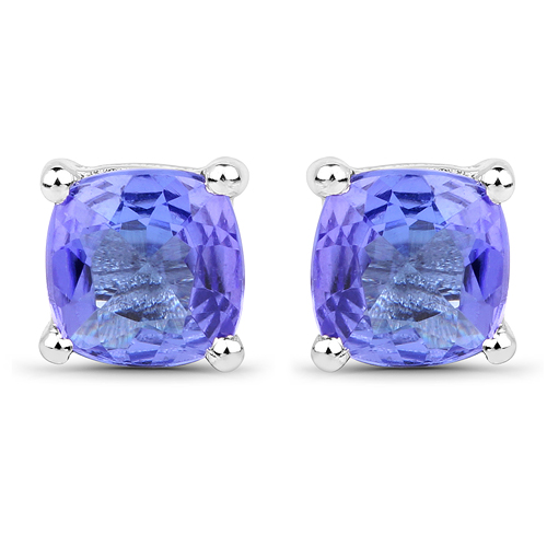 Earrings-1.10 Carat Genuine Tanzanite 14K White Gold Earrings