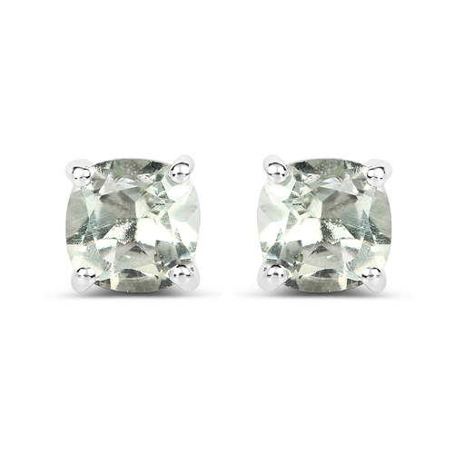 Amethyst-1.80 Carat Genuine Green Amethyst .925 Sterling Silver Earrings