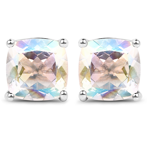 Earrings-4.20 Carat Genuine White Rainbow Mystic Quartz .925 Sterling Silver Earrings