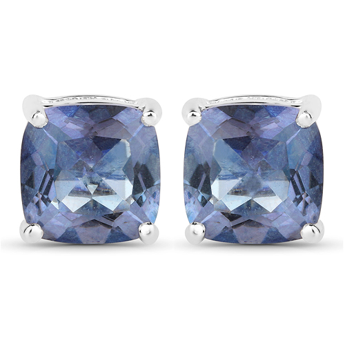 Earrings-4.20 Carat Genuine Tanzanite Color Mystic Quartz .925 Sterling Silver Earrings