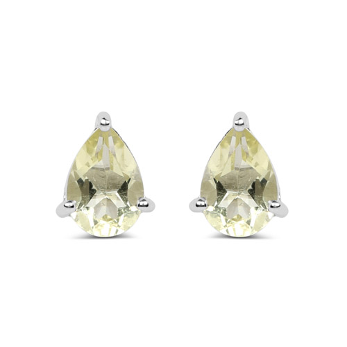 Earrings-1.24 Carat Genuine Lemon Quartz .925 Sterling Silver Earrings