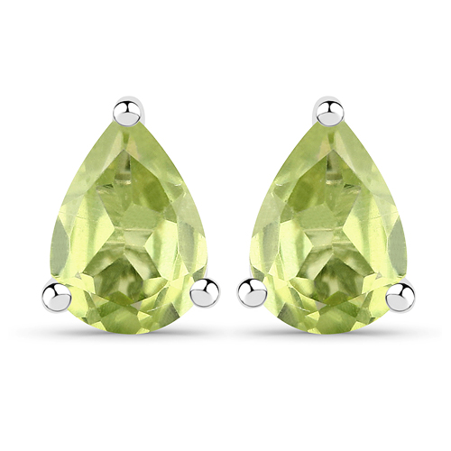 Peridot-1.50 Carat Genuine Peridot .925 Sterling Silver Earrings