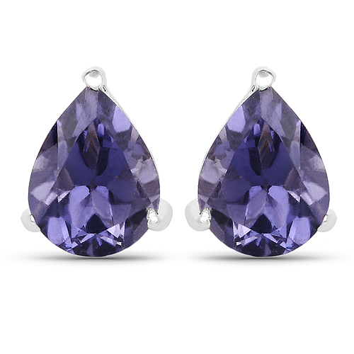 Earrings-1.70 Carat Genuine Iolite .925 Sterling Silver Earrings