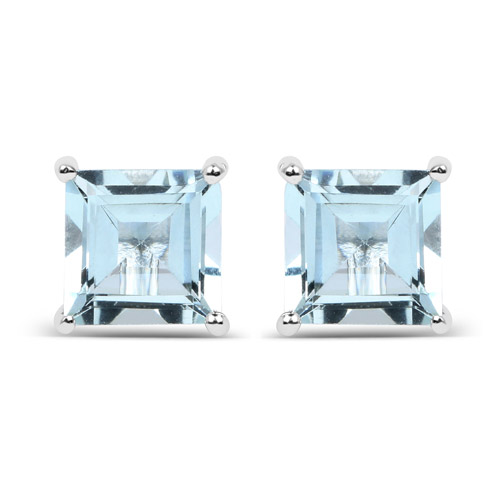 Earrings-1.62 Carat Genuine Aquamarine .925 Sterling Silver Earrings