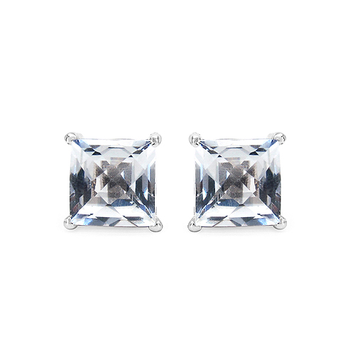 Earrings-5.10 Carat Genuine White Topaz .925 Streling Silver Earrings