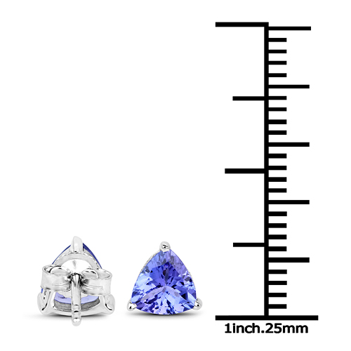 1.50 Carat Genuine Tanzanite 14K White Gold Earrings