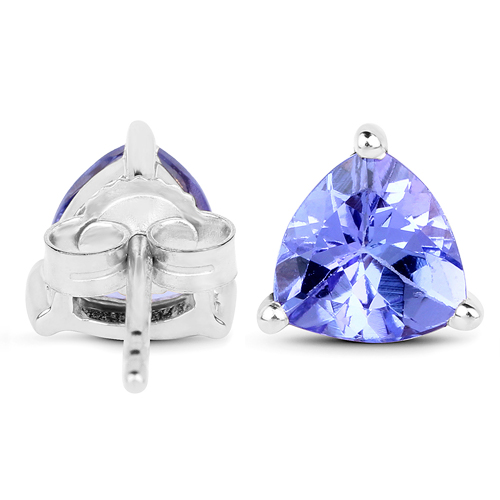 1.29 Carat Genuine Tanzanite 14K White Gold Earrings