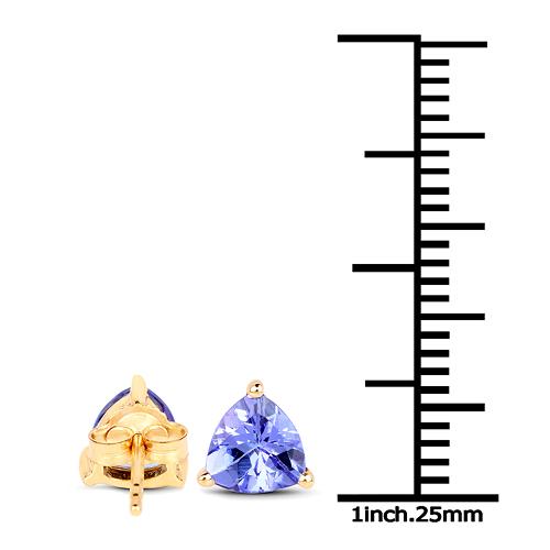 1.50 Carat Genuine Tanzanite 14K Yellow Gold Earrings
