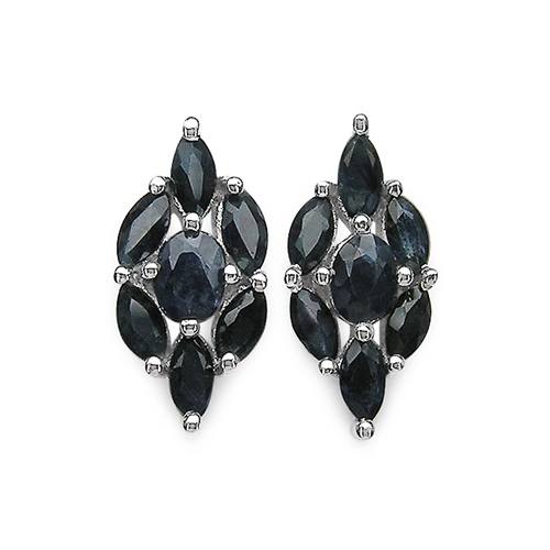 Earrings-1.88 Carat Genuine Blue Sapphire .925 Sterling Silver Earrings