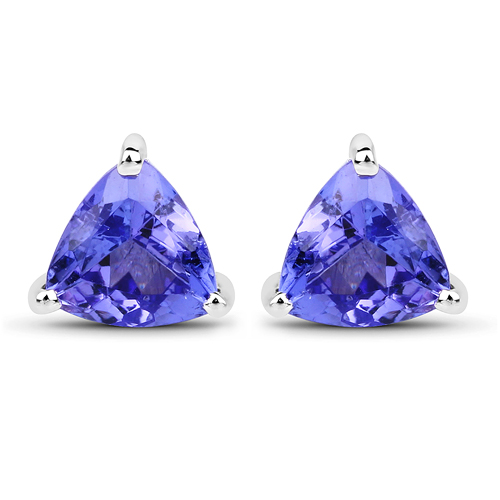 Earrings-0.86 Carat Genuine Tanzanite 14K White Gold Earrings