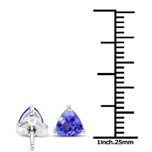 0.86 Carat Genuine Tanzanite 14K White Gold Earrings
