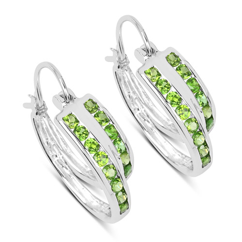 Earrings-1.68 Carat Genuine Chrome Diopside .925 Sterling Silver Earrings