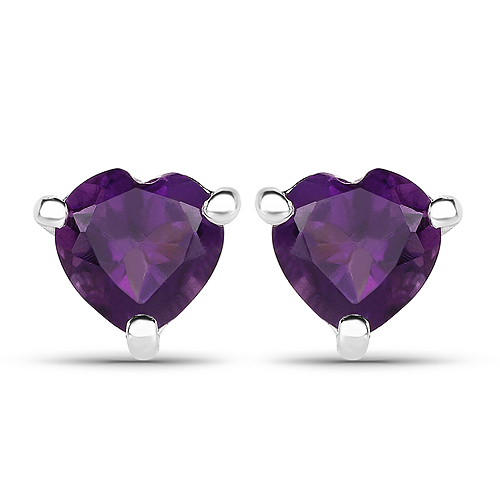 Amethyst-1.40 Carat Genuine Amethyst .925 Sterling Silver Earrings