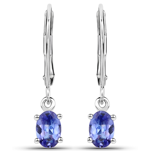 Earrings-0.88 Carat Genuine Tanzanite 14K White Gold Earrings