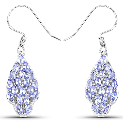 Earrings-3.04 Carat Genuine Tanzanite .925 Sterling Silver Earrings