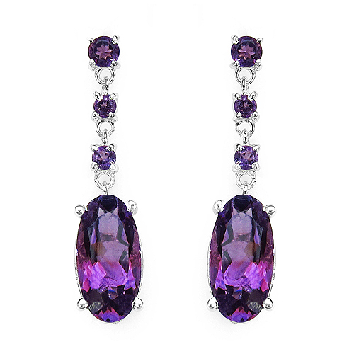 Amethyst-9.63 Carat Genuine Amethyst .925 Streling Silver Earrings