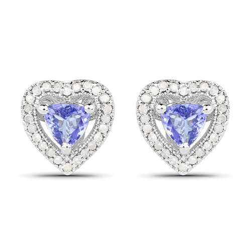 Earrings-1.20 Carat Genuine Tanzanite & White Diamond .925 Sterling Silver Earrings