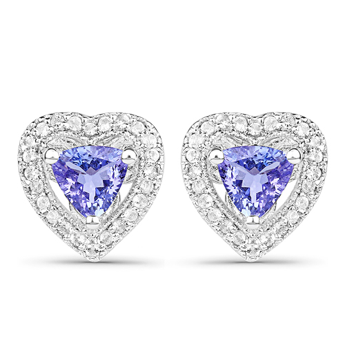 Earrings-1.18 Carat Genuine Tanzanite & White Topaz .925 Sterling Silver Earrings