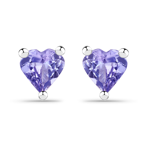 Earrings-0.90 Carat Genuine Tanzanite .925 Sterling Silver Earrings