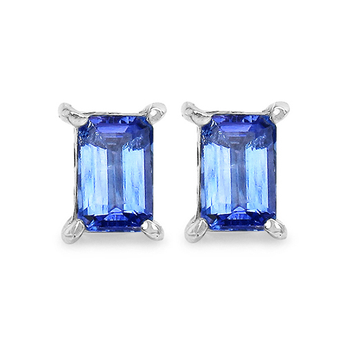 Earrings-1.12 Carat Genuine Tanzanite .925 Sterling Silver Earrings