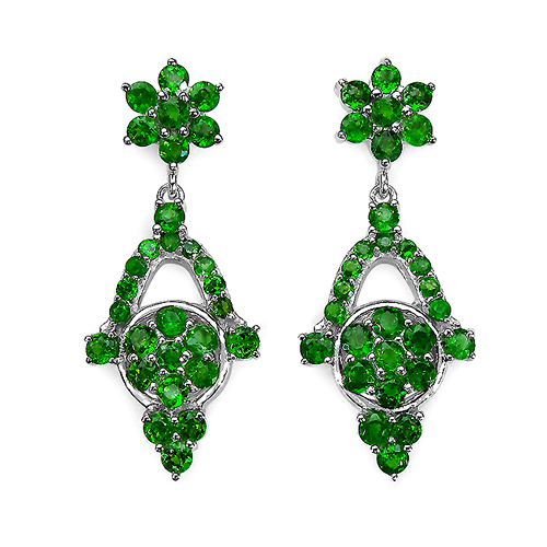 Earrings-6.08 Carat Genuine Chrome Diopside .925 Sterling Silver Earrings