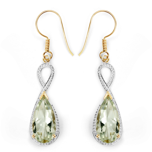 Amethyst-14K Yellow Gold Plated 10.10 Carat Genuine Green Amethyst .925 Sterling Silver Earrings