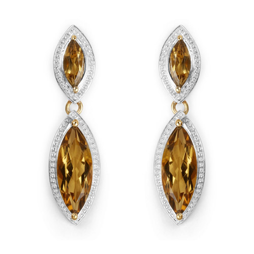 Earrings-14K Yellow Gold Plated 8.50 Carat Genuine Champagne Quartz .925 Sterling Silver Earrings