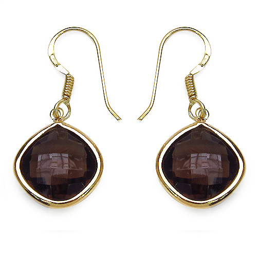 Earrings-14K Yellow Gold Plated 7.92 Carat Genuine Smoky Quartz .925 Sterling Silver Earrings