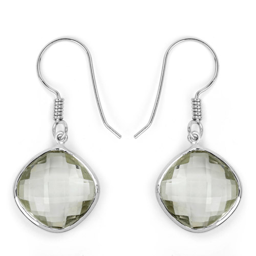 Amethyst-18.10 Carat Genuine Green Amethyst .925 Sterling Silver Earrings