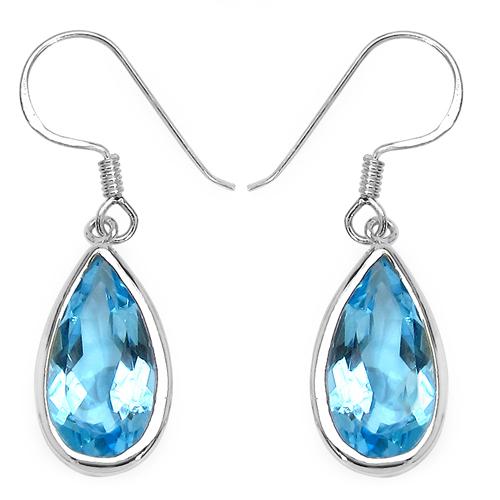 13.36 Carat Genuine Blue Topaz .925 Streling Silver Earrings