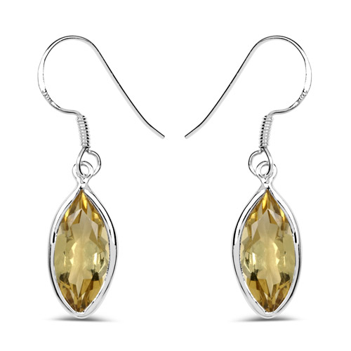 Earrings-5.60 Carat Genuine Lemon Quartz .925 Sterling Silver Earrings