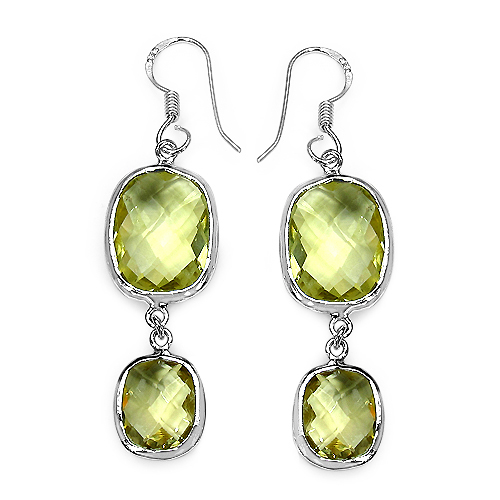 Earrings-25.58 Carat Genuine Lemon Quartz .925 Sterling Silver Earrings