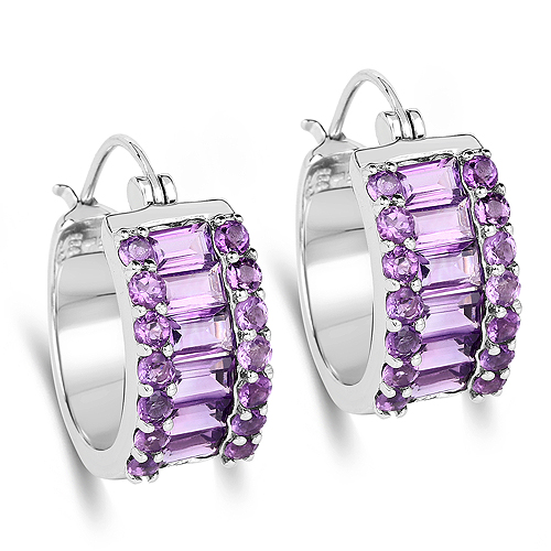 Amethyst-5.56 Carat Genuine Amethyst .925 Sterling Silver Earrings