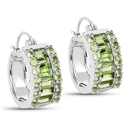 Peridot-4.96 Carat Genuine Peridot .925 Sterling Silver Earrings