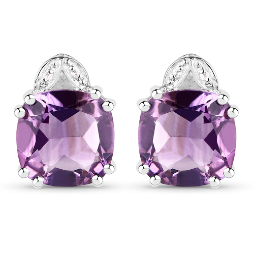 Amethyst-6.22 Carat Genuine Amethyst & White Diamond .925 Sterling Silver Earrings