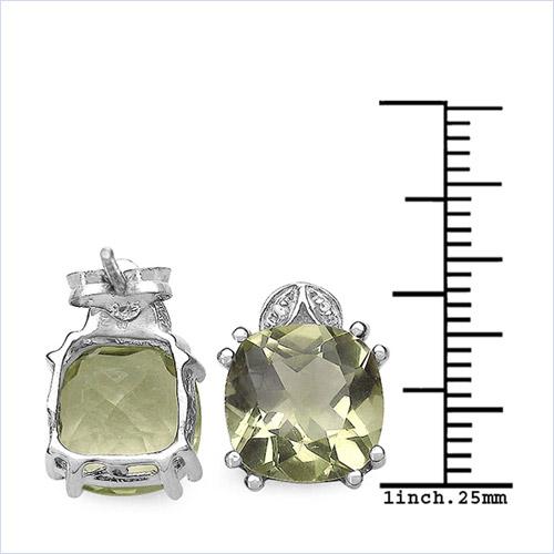 7.82 Carat Genuine Lemon Quartz & White Diamond .925 Sterling Silver Earrings